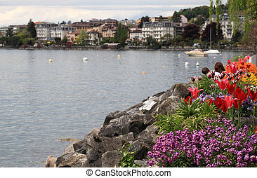 flowers and Lake Geneva, Montreux, Switzerland.
