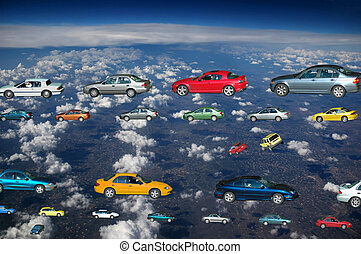 Flying cars in the sky