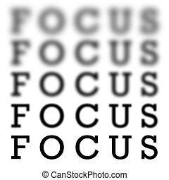 The word focus in 5 different variations of blurriness and sharpness isolated over white.