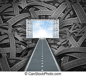 Focus on success and financial freedom ignoring the business obstacles that get in your way as an unstopable determined straight road leading to open doors to a blue sky and sun escaping the negative chaos of twisted confused path ways.