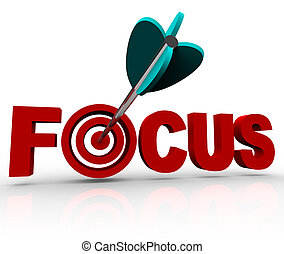 An arrow makes a direct hit in the bulls-eye target in the word Focus, illustrating the importance of focusing and aiming at your goal