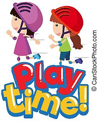 Font design for word play time with happy kids playing