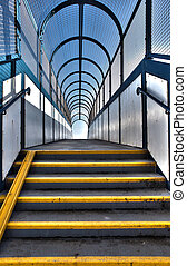 footbridge or pedestrian flyover. stair with steps over bridge. Urban architecture