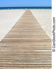 Wooden footbridge at the beach
