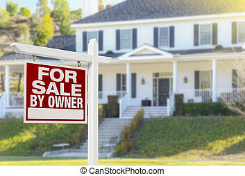 For Sale By Owner Real Estate Sign and House