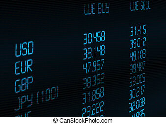Foreign Currency Exchange Rate on Blue Display