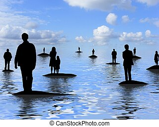 Illustration of lots of people standing on separate islands