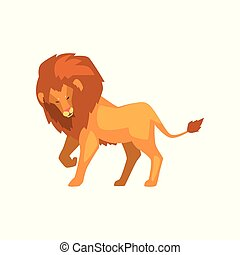 Formidable lion, wild predatory animal side view vector Illustration on a white background