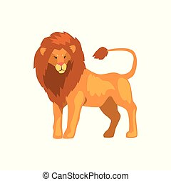 Formidable lion, wild predatory animal vector Illustration on a white background