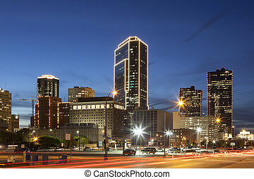 Downtown of Fort Worth illuminated at night.