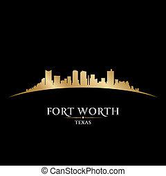 Fort Worth Texas city skyline silhouette. Vector illustration