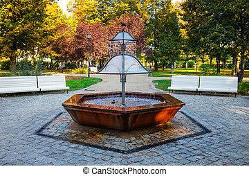Fountain in the green park, Sopot, Poland