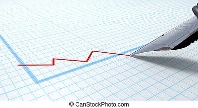 Fountain Pen Drawing Declining Graph