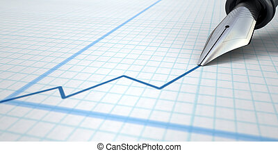 Fountain Pen Drawing Increasing Graph