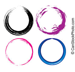four different Grunge circle with place for your text. illustration