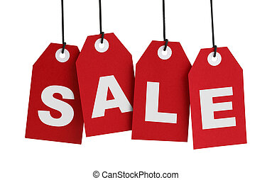 Four Large Red Tags with the Word Sale Isolated on White Background.