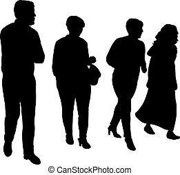 four people walking, silhouette vector