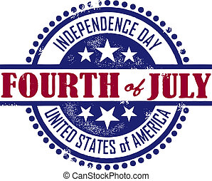 A vintage rubber stamp style imprint featuring the 4th of July.