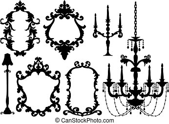 frames and chandelier