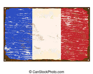 French Flag Enamel Sign
