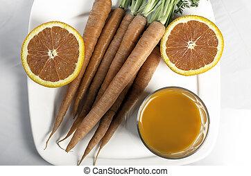 Fresh carrot orange juice