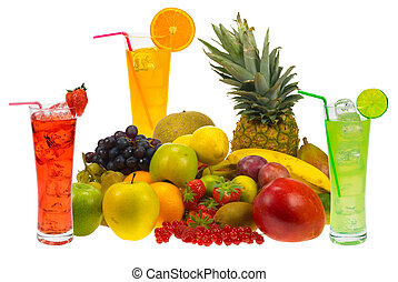 lots of fresh fruit and juice isolated on white