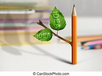 fresh idea creative concept, pencil with leaves on table