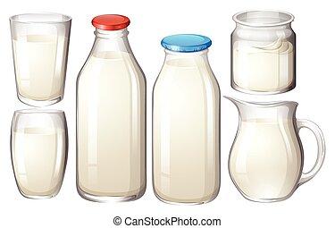 Milk in glasses and bottles