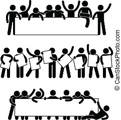 A set of pictogram representing friend holding an empty banner.