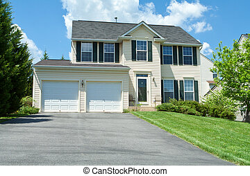 Front View Vinyl Siding Single Family House MD