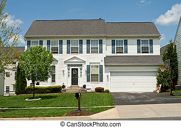 Front Vinyl Siding Single Family House Home Suburban Maryland, U