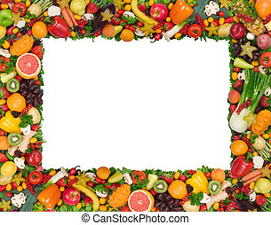 Fruit and vegetable frame isolated on white
