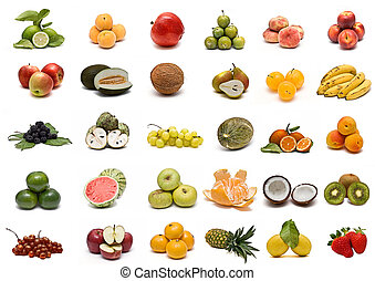 Collection of fruits isolated on a white background.
