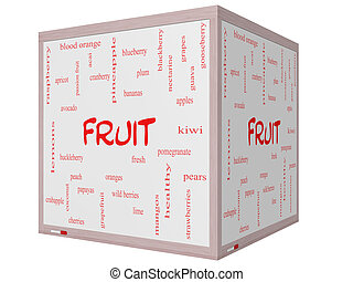 Fruit Word Cloud Concept on a 3D cube Whiteboard