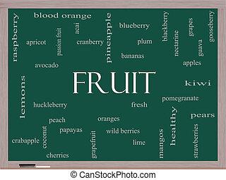 Fruit Word Cloud Concept on a Blackboard