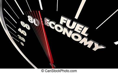 Fuel Economy Best Miles Per Gallon Efficiency Speedometer Word 3d Illustration