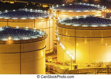 Fuel tanks at night