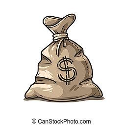 Full sack of cash money dollars cartoon. Vector illustration.