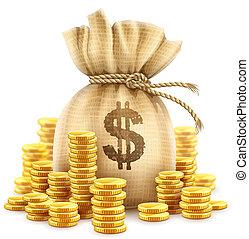 Full sack of cash money gold coins. Illustration.
