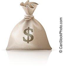 Full sack with money dollars