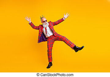 Full size photo of crazy grandpa white beard dancing youngster moves little drunk bachelor men party wear crown sun specs plaid red costume isolated yellow color background