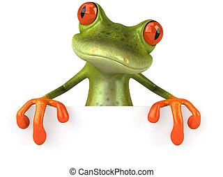 Fun frog with a blank sign