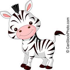 Fun zoo. Illustration of cute Zebra