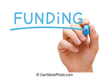 Hand writing Funding with blue marker on transparent wipe board.