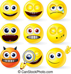 Cartoon Yellow Smiley Balls #4, positive and negative emotions, gestures, poses