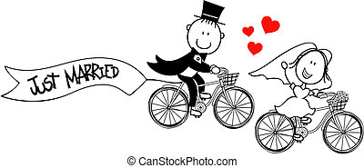 bride and groom on bicycles isolated on white background, ideal for funny wedding invitation, vector format very easy to edit, individual objects