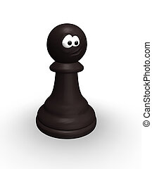 black chess pawn with comic face - 3d illustration