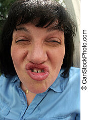 Woman with an ugly face