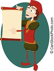 a vector cartoon representing a funny herald showing a blank scroll with copyspace