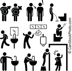 A set of pictogram representing funny toilet icon and pictogram.